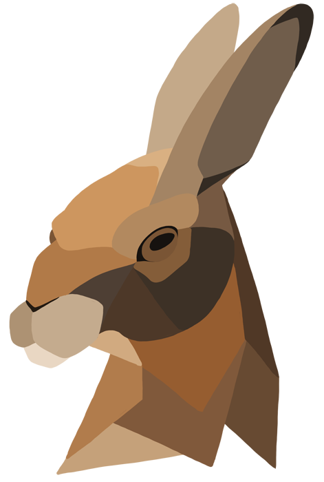 Hares drawing illustration. Geometric hare by missej