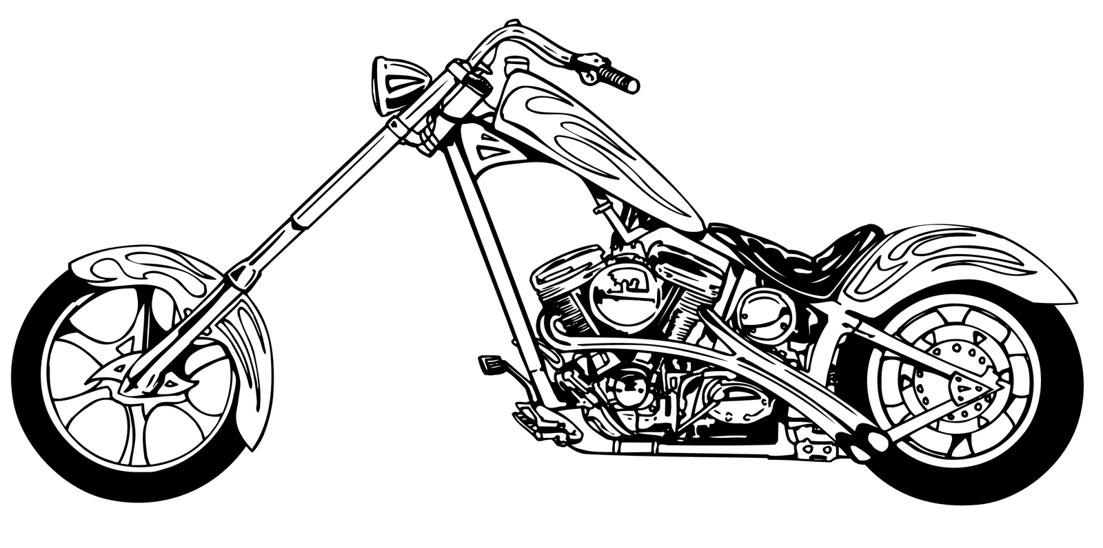 Harley davidson clipart black and white. Motorcycle clipartix