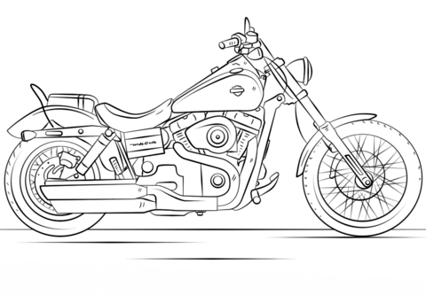 Harley davidson clipart printable. Motorcycle coloring page free