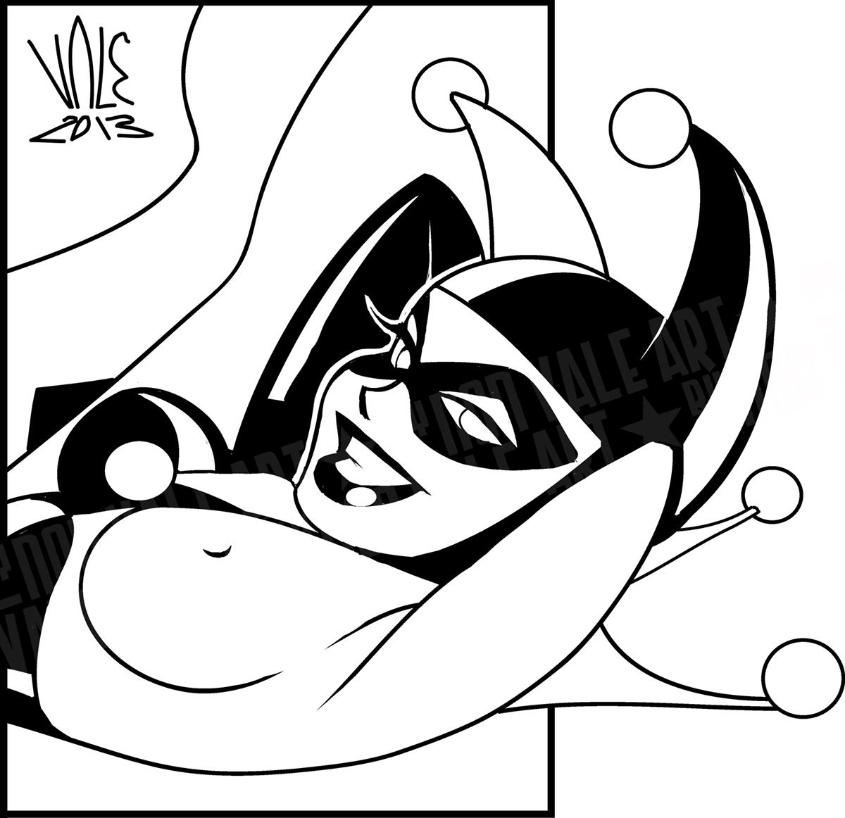 Harley quinn clipart line. In bruce timm s