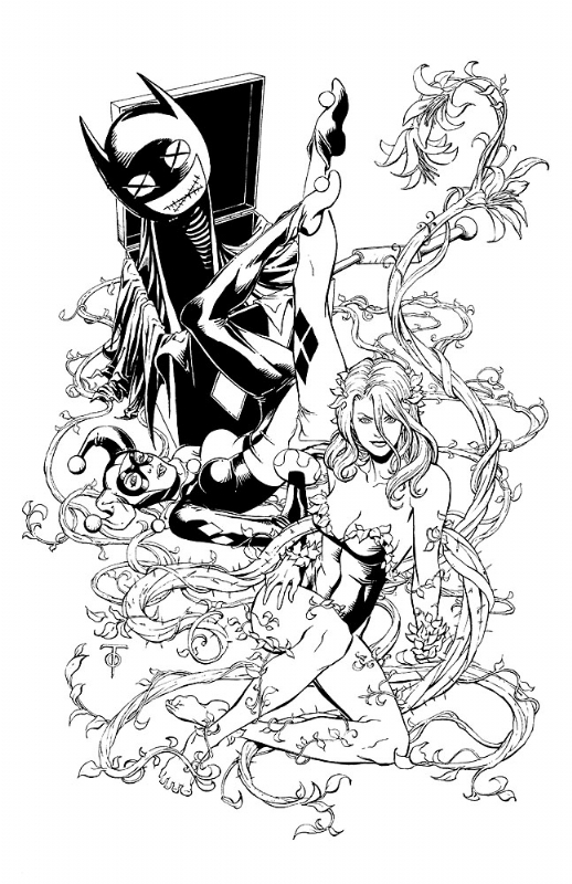 Harley quinn clipart line. Poison ivy in marcus
