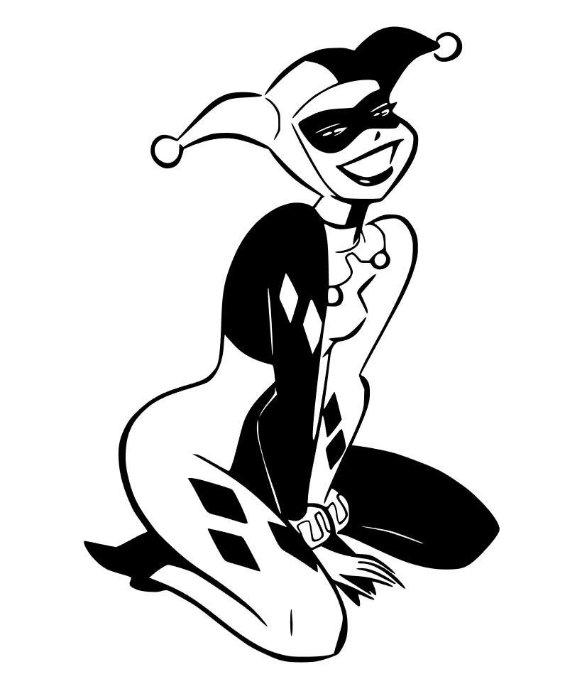 Harley quinn clipart outline. Free studio and svg