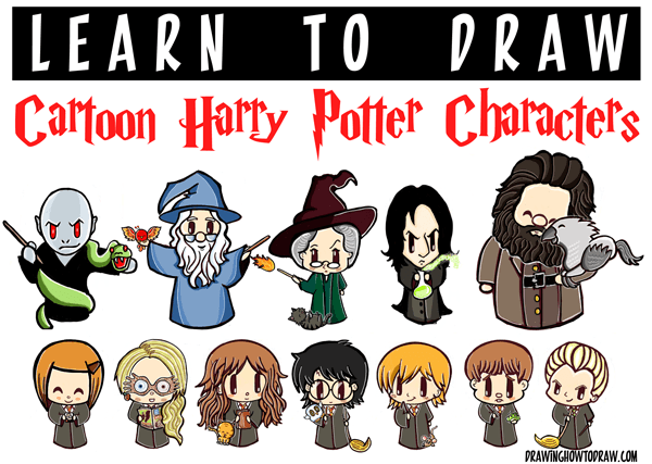 Harry potter clipart cartoon simple. Huge characters drawing tutorial