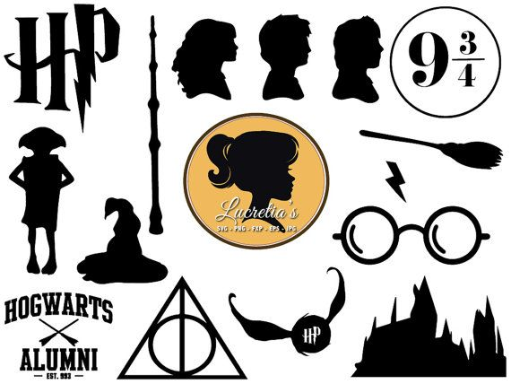Harry potter clipart collage. Svg dxf files for