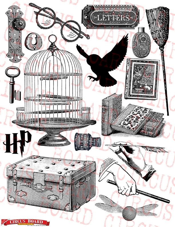 Harry potter clipart collage. Digital sheet download and