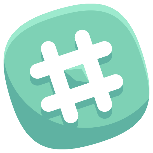 Hashtag 3d png. Social media icon ico