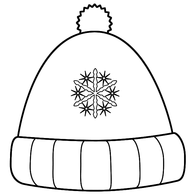Hat clipart printable. Winter coloring page bialystoker
