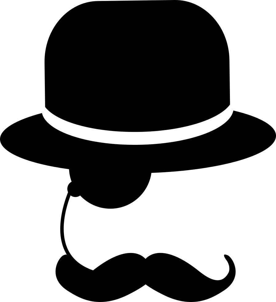 Elegant drawing hat. Man with one eyeglass