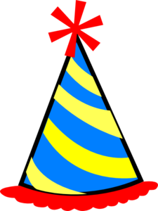 Hat svg birthday party. Red blue yellow clip