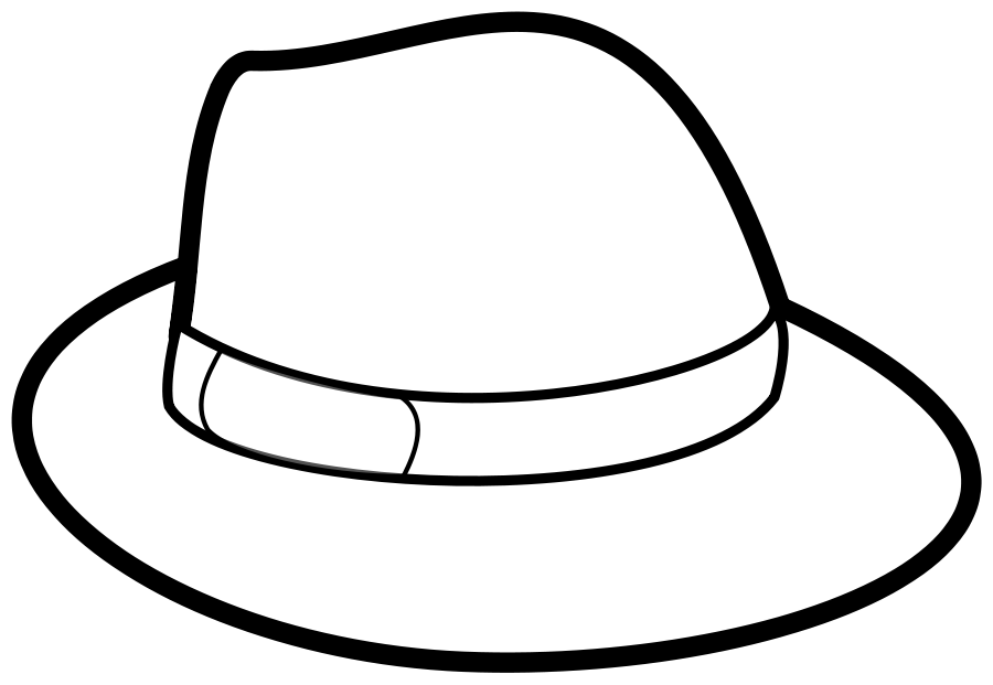 Cap clip colouring page. Hat outline svg vector