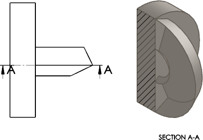 Hatch drawing body. Solidworks section view