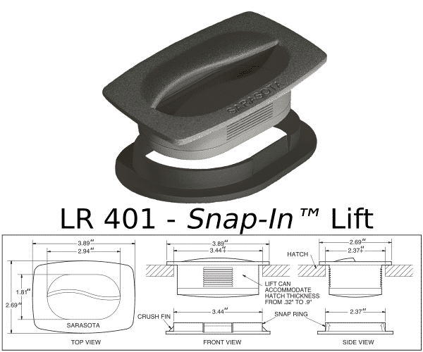 Hatch drawing rubber. Snap in lift flush