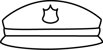 Cap clip black and white. Police hat art image