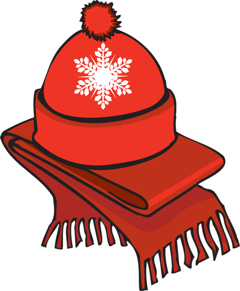 Scarf and hat . Gloves clipart jpg library