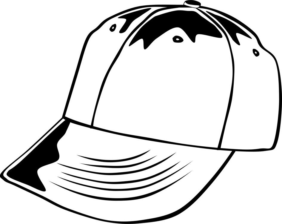 Hats drawing black and white. Baseball cap hat free