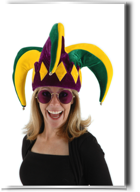 Hats drawing court jester. Mardi gras costumes and