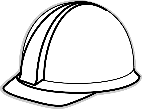Cap clip black and white. Hard hat template for