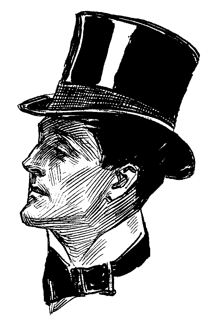 Hats drawing side view. Man with victorian top