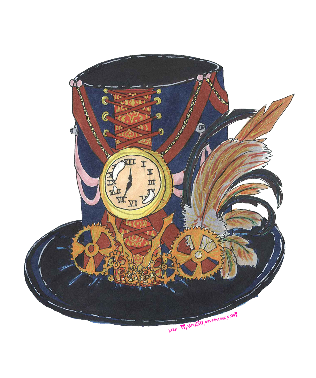 Hats drawing steampunk. Time keeper hat by