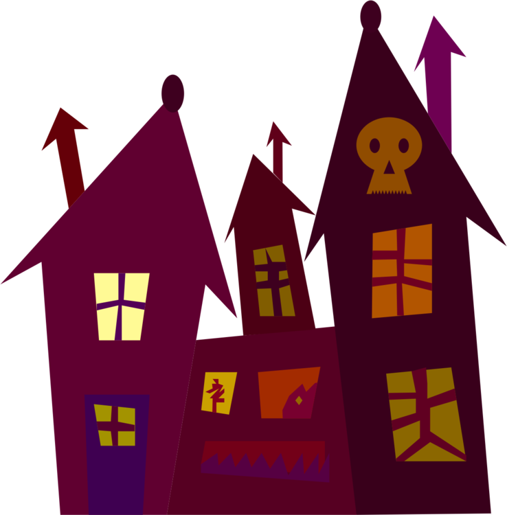 Haunter drawing colouring. Haunted house silhouette cartoon