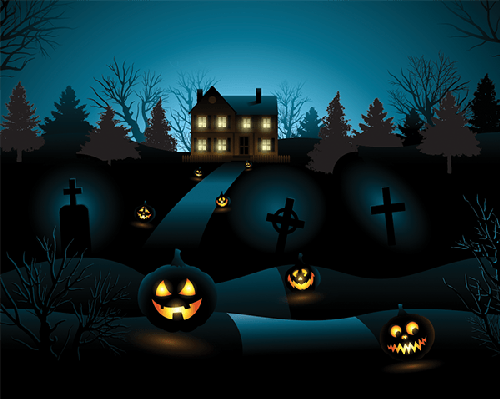 Haunted clipart background. Blue halloween invitation house