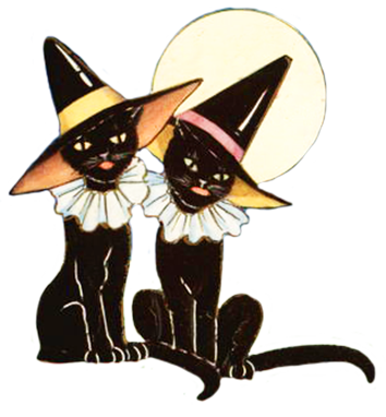 Haunted clipart black cat. Free halloween pictures download