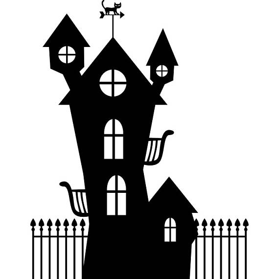 Haunted clipart black cat. Halloween house holiday svg