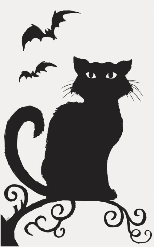 Haunted clipart black cat. Halloween window silhouette party