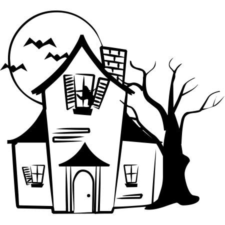 Haunted clipart church. House drawing clip art