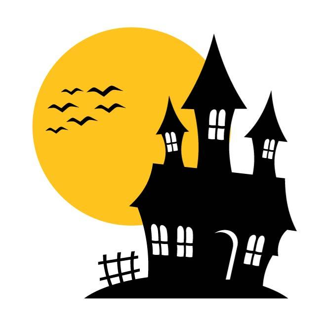 Spooky clipart. Free house silhouette at