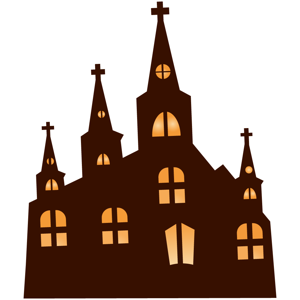 Haunted clipart church. Spooky pencil and in
