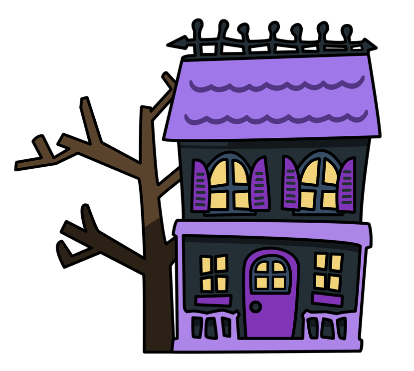Spooky clipart haunted library. House at getdrawings com
