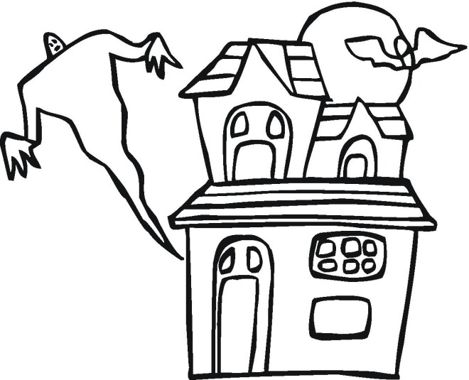 Haunted clipart easy cartoon. Halloween house coloring pages