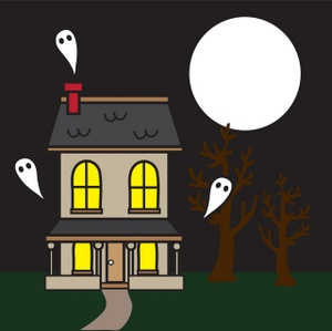 Haunted clipart halloween full moon. Free house image on