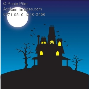 Haunted clipart moon. Spooky house on a