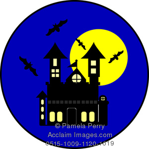 Haunted clipart moon. Clip art illustration of