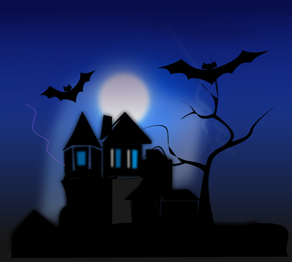 Haunted clipart spooky story. Illustration of a house
