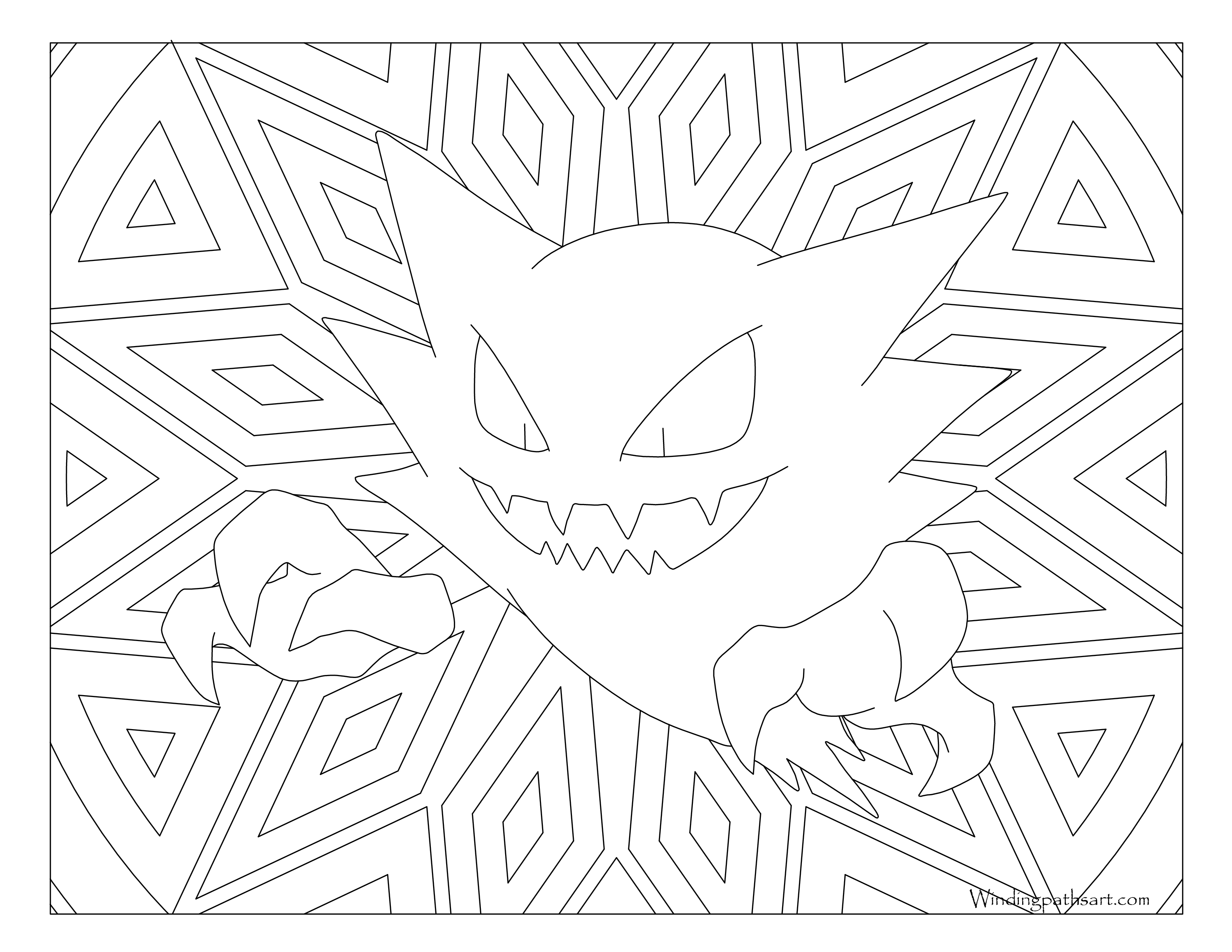 Haunter drawing line. Pokemon coloring page