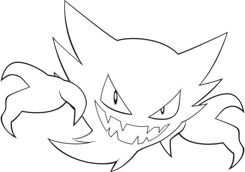 Haunter drawing realistic. Free line art by