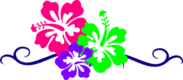 Hawaii clipart banner. Hawaiian flower border