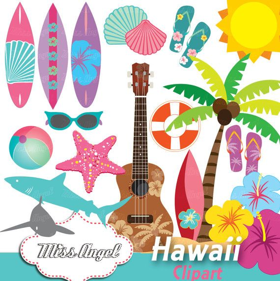 Hawaii surf clip art. Hawaiian clipart vector black and white stock
