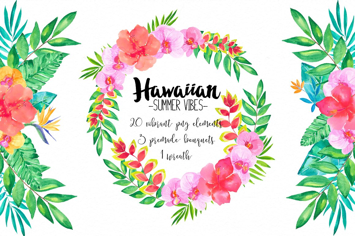 Summer vibes rb illustrations. Hawaiian clipart wreath clipart free stock