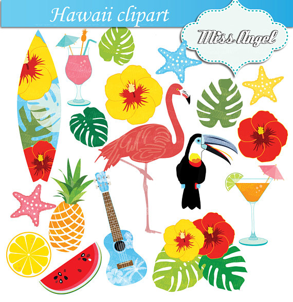 Hawaii flamingo summer beach. Hawaiian clipart wreath picture freeuse library