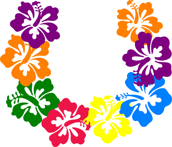 Hibiscus flowers lei clip. Hawaiian flower border png vector royalty free stock