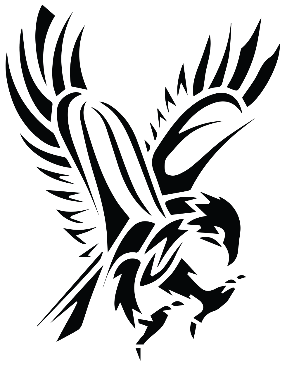 Claws vector falcon. Image black tribal flying