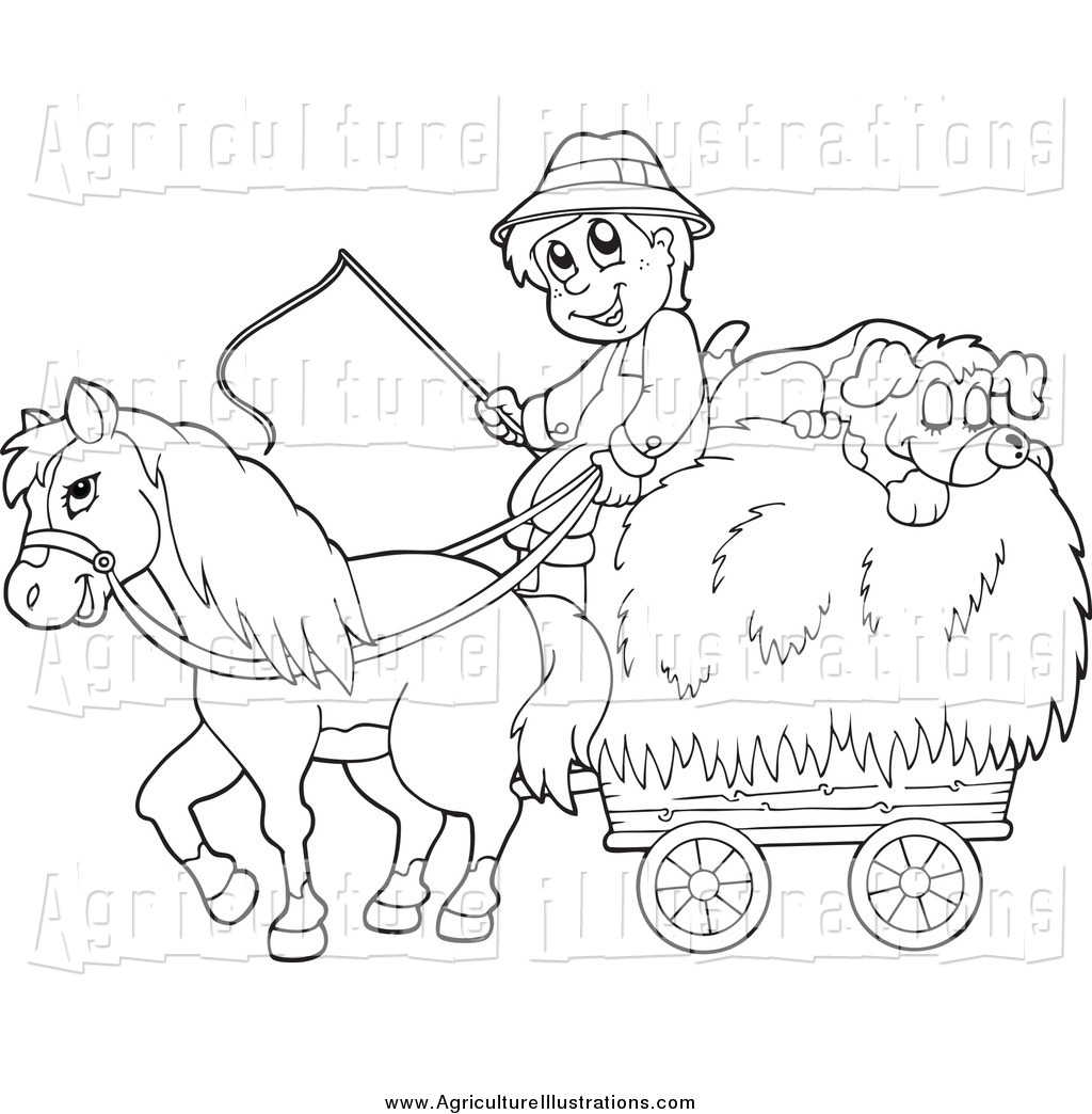 Hay clipart black and white. Agriculture of a happy