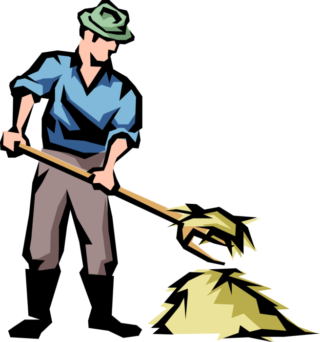 Hay vector. Farmer with pitchfork and