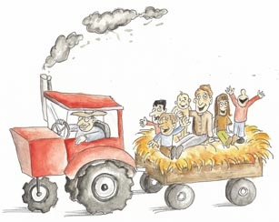 Hayride clipart hay cart. Happiness day rides festivals