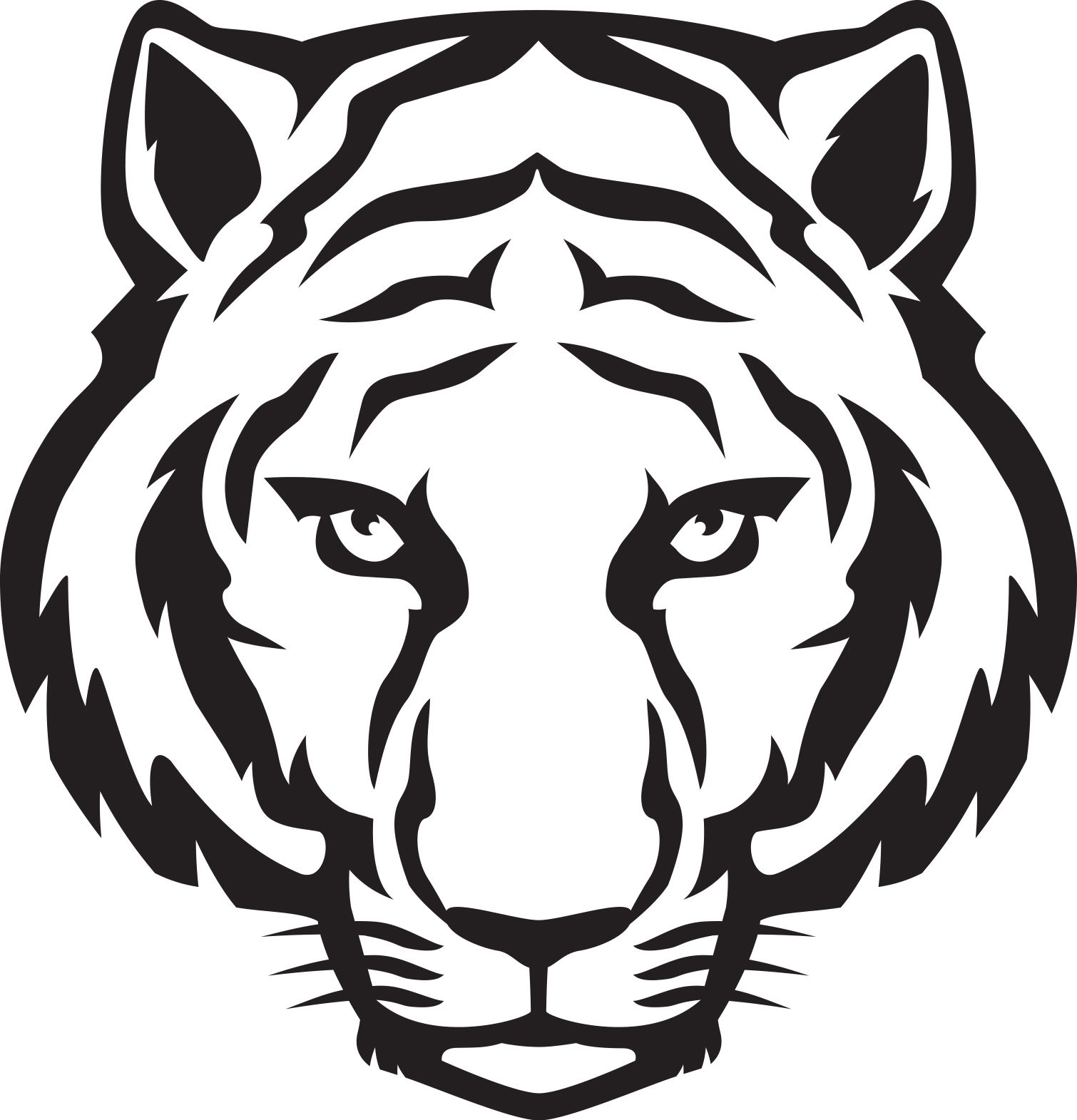 Tiger clipart face. Head outline eyes black