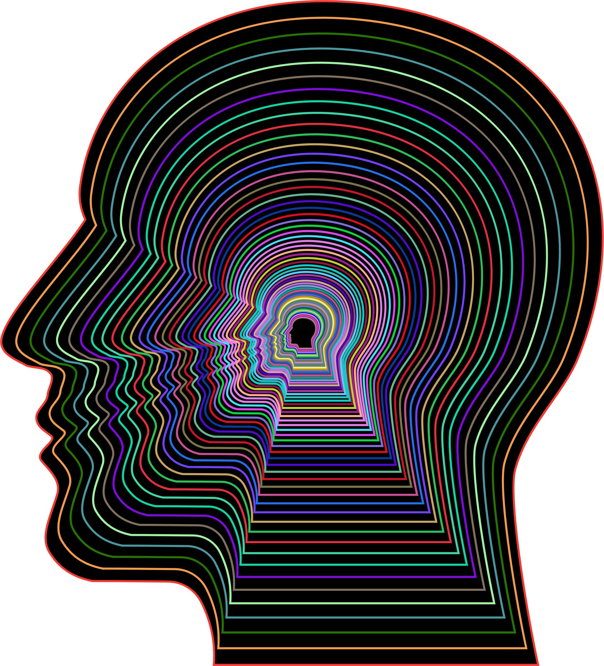 Head outline png. Prismatic man with background